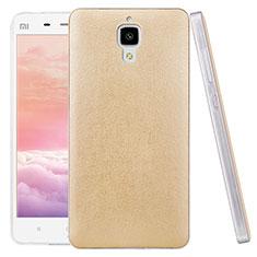 Housse Plastique Rigide Motif Cuir pour Xiaomi Mi 4 LTE Or