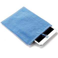 Housse Pochette Velour Tissu pour Huawei Mediapad X1 Bleu Ciel
