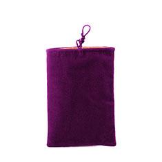 Housse Pochette Velour Tissu Universel pour Huawei Honor View 20 Violet