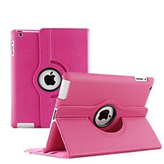 Housse Portefeuille Cuir Rotatif pour Apple iPad 3 Rose Rouge
