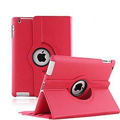Housse Portefeuille Cuir Rotatif pour Apple iPad 3 Rouge