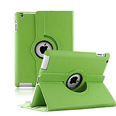 Housse Portefeuille Cuir Rotatif pour Apple iPad 3 Vert