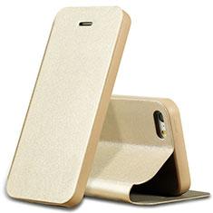 Housse Portefeuille Livre Cuir L01 pour Apple iPhone SE Or