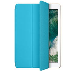 Housse Portefeuille Livre Cuir L01 pour Apple New iPad 9.7 (2017) Bleu Ciel