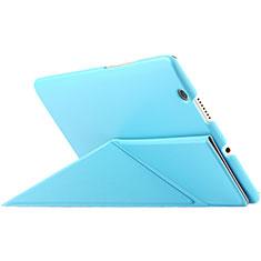 Housse Portefeuille Livre Cuir L01 pour Huawei MediaPad M3 Bleu