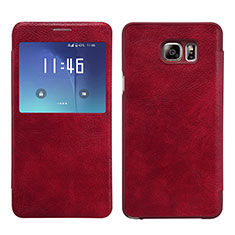 Housse Portefeuille Livre Cuir L01 pour Samsung Galaxy Note 5 N9200 N920 N920F Rouge