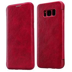 Housse Portefeuille Livre Cuir L01 pour Samsung Galaxy S8 Rouge