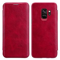 Housse Portefeuille Livre Cuir L01 pour Samsung Galaxy S9 Rouge