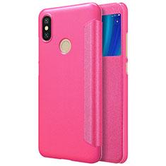 Housse Portefeuille Livre Cuir L01 pour Xiaomi Mi A2 Rose Rouge