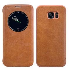 Housse Portefeuille Livre Cuir L02 pour Samsung Galaxy S7 Edge G935F Marron