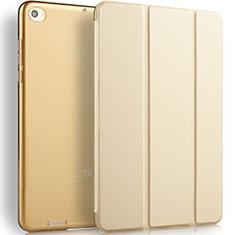 Housse Portefeuille Livre Cuir L02 pour Xiaomi Mi Pad 3 Or