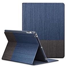 Housse Portefeuille Livre Cuir L03 pour Apple iPad 3 Bleu