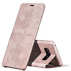 Housse Portefeuille Livre Cuir L04 pour Samsung Galaxy Note 8 Rose