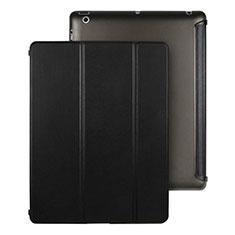 Housse Portefeuille Livre Cuir pour Apple iPad 3 Noir