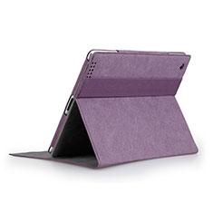 Housse Portefeuille Livre Cuir pour Apple iPad 4 Violet