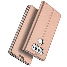 Housse Portefeuille Livre Cuir pour LG G6 Or Rose