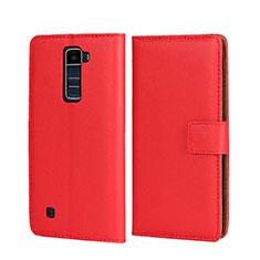 Housse Portefeuille Livre Cuir pour LG K7 Rouge