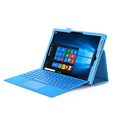 Housse Portefeuille Livre Cuir pour Microsoft Surface Pro 3 Bleu