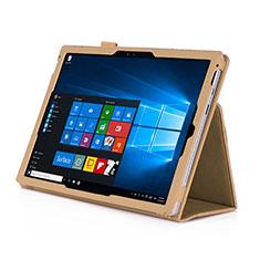 Housse Portefeuille Livre Cuir pour Microsoft Surface Pro 4 Or
