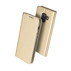Housse Portefeuille Livre Cuir pour Samsung Galaxy A6 (2018) Dual SIM Or