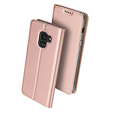 Housse Portefeuille Livre Cuir pour Samsung Galaxy A8 (2018) Duos A530F Or Rose