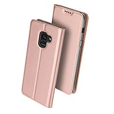 Housse Portefeuille Livre Cuir pour Samsung Galaxy A8+ A8 Plus (2018) Duos A730F Or Rose