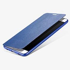 Housse Portefeuille Livre Cuir pour Samsung Galaxy C7 Pro C7010 Bleu
