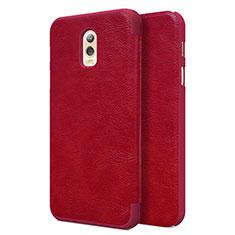 Housse Portefeuille Livre Cuir pour Samsung Galaxy J7 Plus Rouge