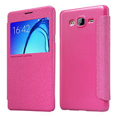 Housse Portefeuille Livre Cuir pour Samsung Galaxy On5 G550FY Rose Rouge
