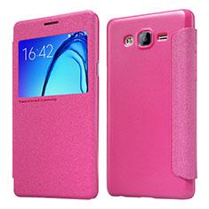 Housse Portefeuille Livre Cuir pour Samsung Galaxy On5 Pro Rose Rouge