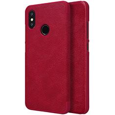Housse Portefeuille Livre Cuir pour Xiaomi Mi 8 Rouge