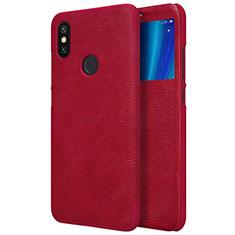 Housse Portefeuille Livre Cuir pour Xiaomi Mi A2 Rouge