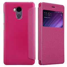 Housse Portefeuille Livre Cuir pour Xiaomi Redmi 4 Prime High Edition Rose Rouge