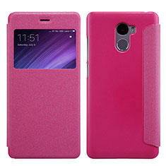 Housse Portefeuille Livre Cuir pour Xiaomi Redmi 4 Standard Edition Rose Rouge