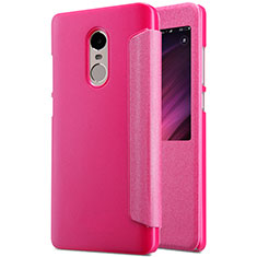 Housse Portefeuille Livre Cuir pour Xiaomi Redmi Note 4 Standard Edition Rose Rouge