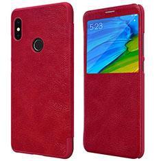 Housse Portefeuille Livre Cuir pour Xiaomi Redmi Note 5 AI Dual Camera Rouge