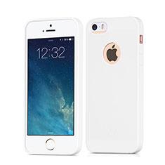 Housse Silicone avec Trou Souple Couleur Unie pour Apple iPhone SE Blanc