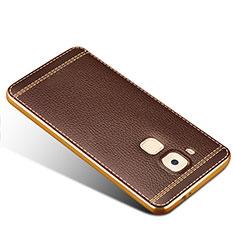 Housse Silicone Gel Motif Cuir pour Huawei G9 Plus Marron