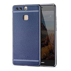 Housse Silicone Gel Motif Cuir pour Huawei P9 Bleu