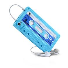 Housse Silicone Souple Cassette pour Apple iPhone 4 Bleu Ciel