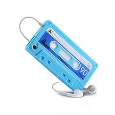 Housse Silicone Souple Cassette pour Apple iPhone 4S Bleu Ciel