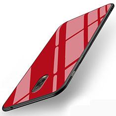 Housse Silicone Souple Miroir pour Samsung Galaxy C8 C710F Rouge