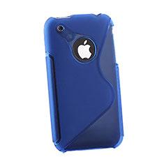 Housse Silicone Souple Transparente Vague S-Line pour Apple iPhone 3G 3GS Bleu