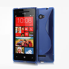 Housse Silicone Souple Transparente Vague S-Line pour HTC 8X Windows Phone Bleu