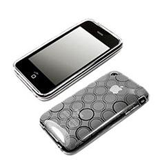 Housse Silicone Souple Vague Cercle Transparente pour Apple iPhone 3G 3GS Blanc