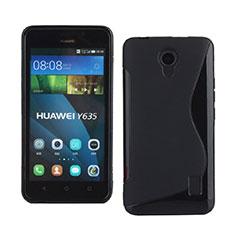 Housse Silicone Souple Vague S-Line pour Huawei Ascend Y635 Dual SIM Noir