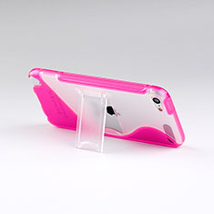 Housse Silicone Transparente Vague S-Line avec Bequille pour Apple iPod Touch 5 Rose Rouge