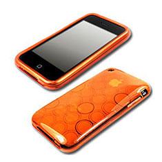 Housse TPU Souple Vague Cercle Transparente pour Apple iPhone 3G 3GS Orange