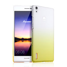 Housse Transparente Rigide Degrade pour Huawei Ascend P7 Jaune