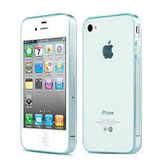 Housse Ultra Fine Silicone Souple Transparente pour Apple iPhone 4 Bleu Ciel